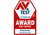 AVTest - best repair award for Bitdefender